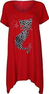 Damen Übergröße Top Strass Nieten Tierdruck Flügelärmel Damen Lang T-Shirt