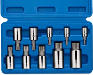Neiko 10056A XZN Triple Square Spline Bit Socket Set, S2 Steel | 10-Piece Set | Metric 4mm – 18mm