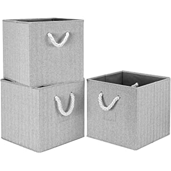 Robuy 3 Pack Foldable Storage Shelves Bins with Cotton Rope Handle and Label Holders, Collapsible Basket Cubes Container Boxes Organizer - Gray 13x13x13 inch