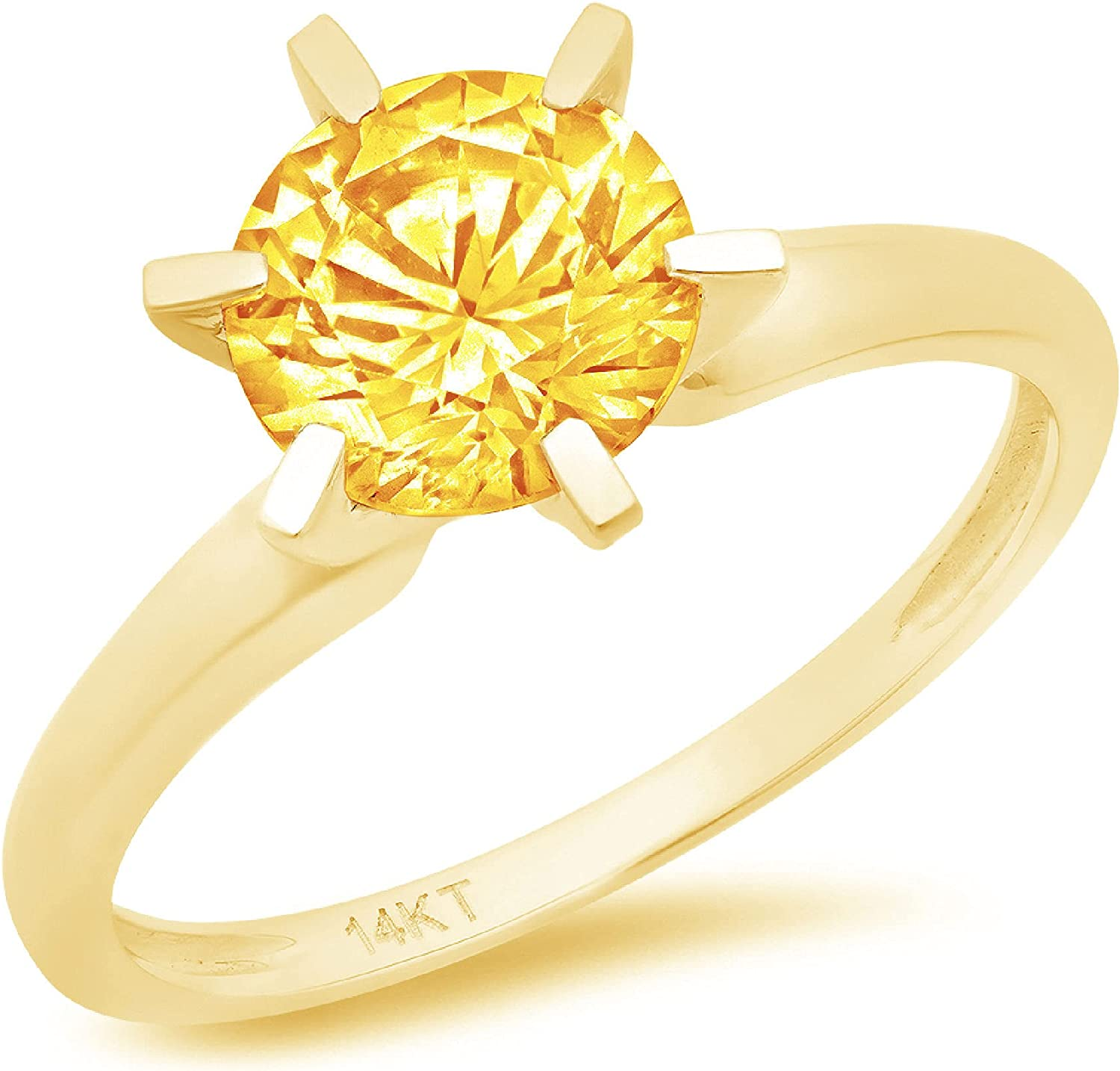 0.9ct Brilliant Round Cut Solitaire Natural Yellow Citrine Ideal VVS1 Engagement Wedding Bridal Promise Anniversary Ring in Solid 14k yellow Gold for Women