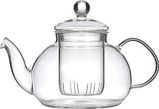 LEAF & BEAN D8018 Chrysanthemum Teapot with Filter, Clear Glass