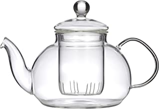 LEAF & BEAN D8018 Chrysanthemum Teapot with Filter, Clear Glass
