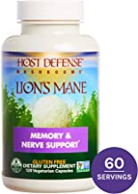 Host Defense, Lion's Mane Capsules, Promotes Mental Clarity, Focus and Memory, Daily Mushroom Supplement, Vegan, Organic, Gluten Free, 120 Capsules (60 Servings)