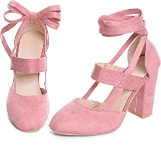 Women High Heel Sandals Closed Toe Pumps Square Heel Shoes Women's Fashion Thick High Heel Pumps Sexy Straps Platform Sandals