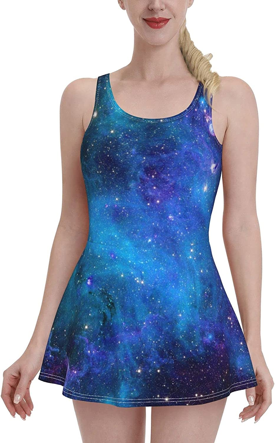 Teal Bule Purple Galaxy Star Abstract Space Swimdress Swimsuits for Women Tummy Cont