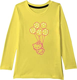 American-Elm Yellow Coloured Full Sleeves Multicoloured Cartoon Printed T-Shirt for Girls | Cartoon Print T-Shirt for Kids