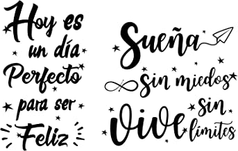 2pcs Pegatinas Pared Vinilos Frases Letras Motivadoras Español Stickers Adhesivos Negro Decoración Habitación Dormitorio S...