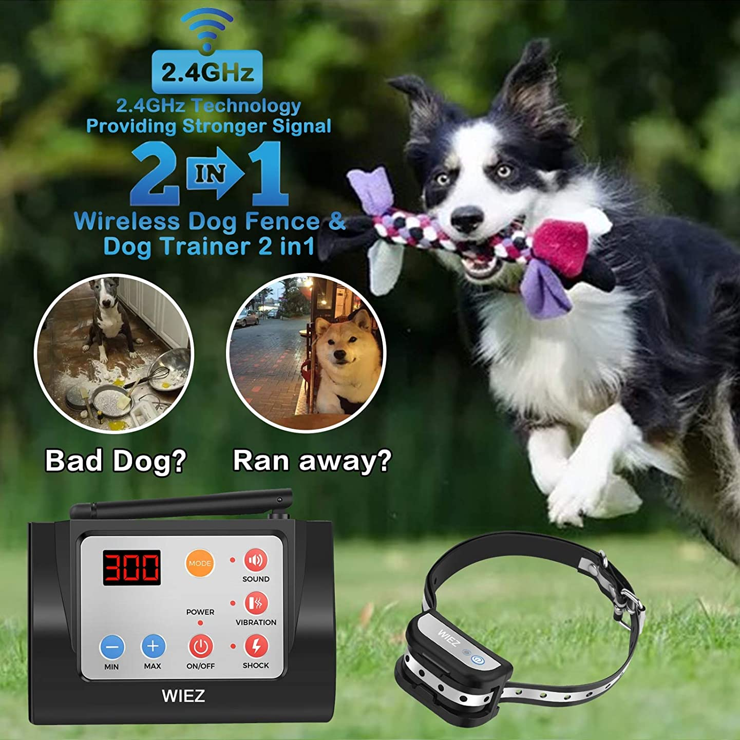 WIEZ Dog Fence Wireless & Training Collar Outdoor 2-in-1, Electirc Invisible Fence for Dogs with Remote Wireless, Adjustable Range Control, Waterproof Reflective Stripe Collar, Harmless for All Dogs