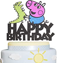 Happy Birthday Peppa Pig Cake Topper Glitter Family Cartoon Dinosaur Pig Party Decor Perfect for Baby Shower Child Birthday Party Supplies Decorations
