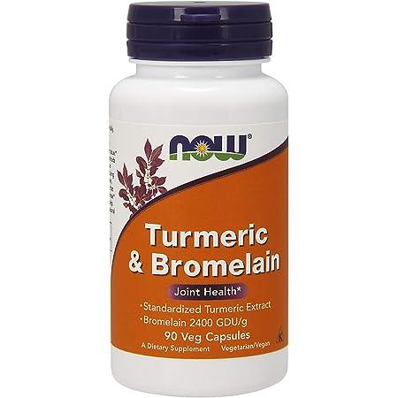 NOW Supplements, Turmeric & Bromelain (Standardized Turmeric Extract) with Bromelain 2400 GDU/g, 90 Veg Capsules