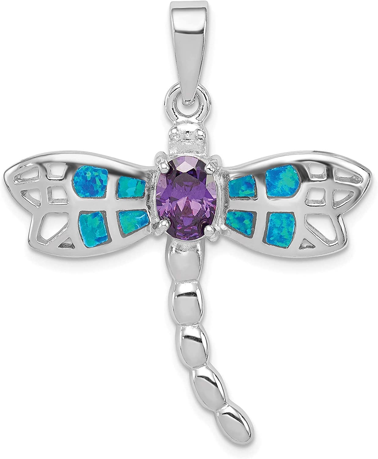 Bonyak Jewelry Sterling Silver Rhodium Plated Cr. Opal Inlay Dragonfly Amethyst Pendant