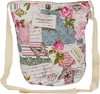 STRIPES Diwali Offer Butterfly and Flower Print Design Cotton Fabric Waterproof Sling Bag for Women/Girls