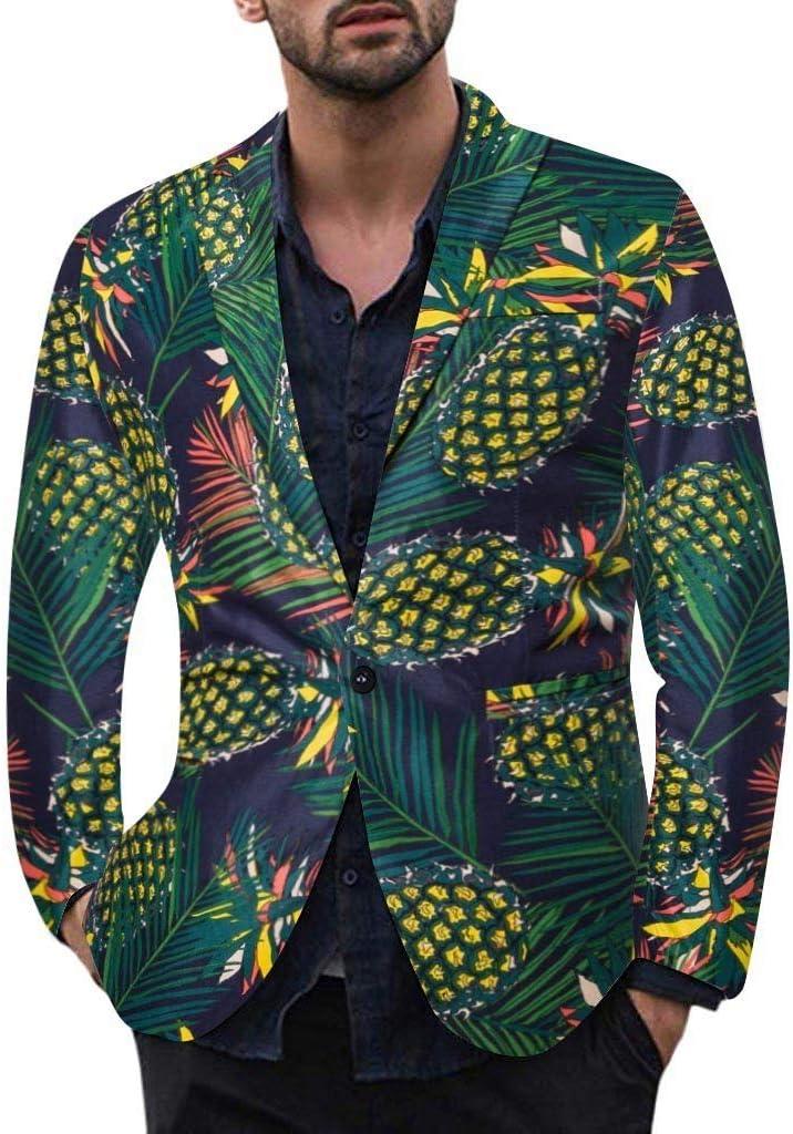 ZODOF Hombre Chaqueta Entallada Impreso Chaqueta de Traje Nuevo Blazer Chaqueta de Vestir Casual Manga Larga Cardigan para Hombre Traje Blazer Abrigo Tops(Verde,L)