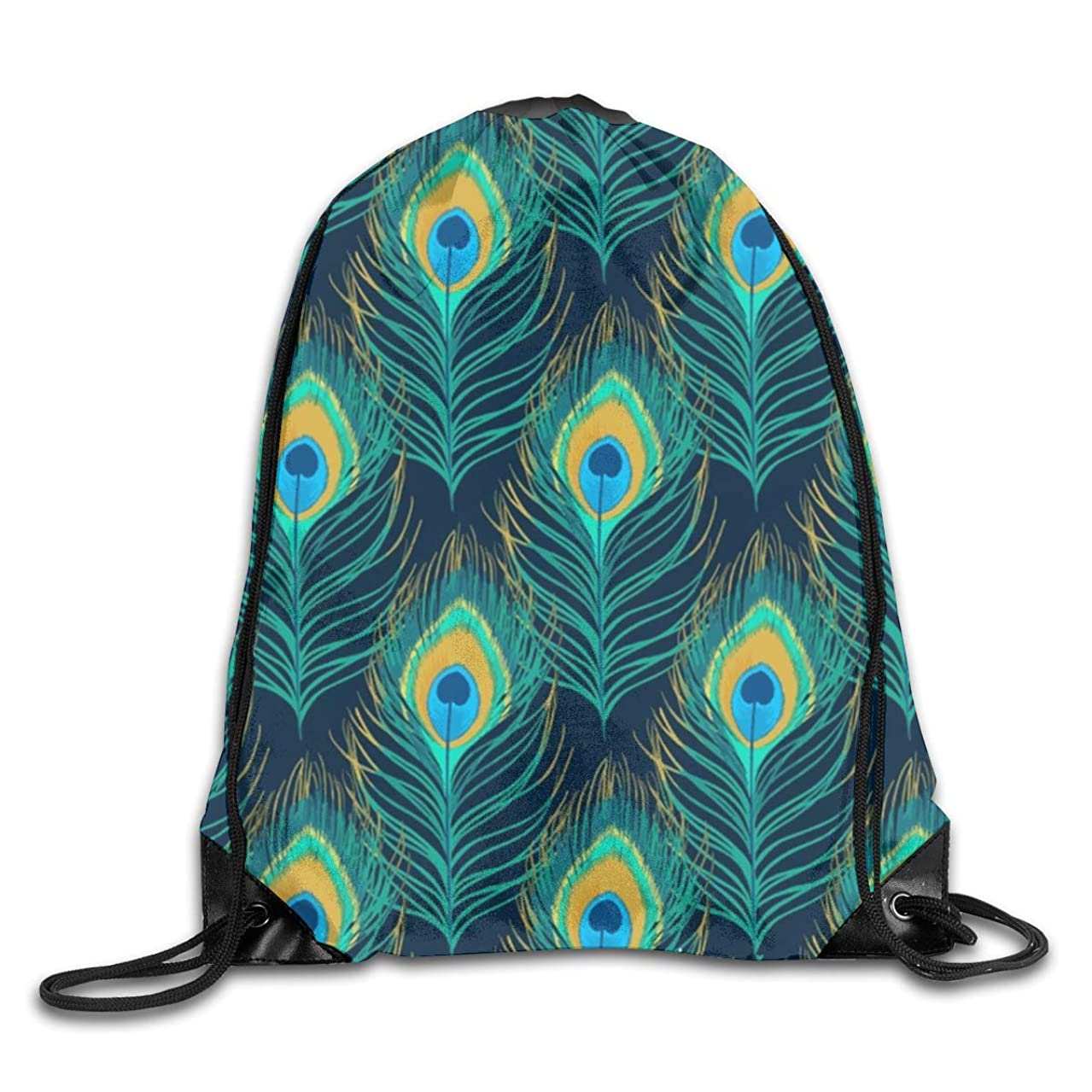 Watercolor Peacock Feather Men & Women Sport Gym Sack Dancing Bag Drawstring Backpack For Beach Hiking Travel Bags