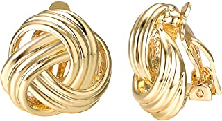Knot Clip On Earrings For Women Fashion 18k White/Yellow Gold Plated Endless Love Earrings