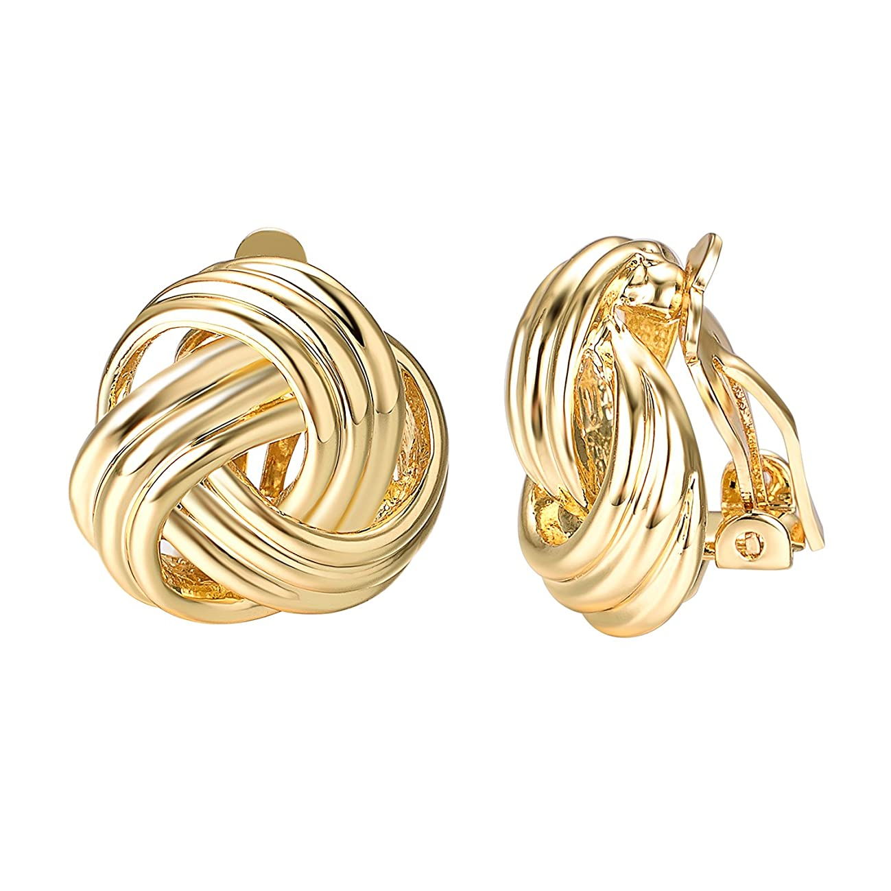 Yoursfs Knot Clip On Earrings For Women Fashion 18k White/Yellow Gold Plated Endless Love Earrings