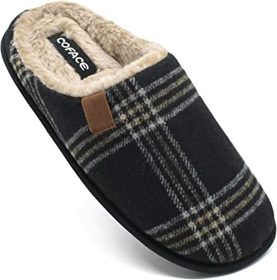 COFACE Mens Memory Foam Slippers Slip On Warm Fluffy House Indoor/Outdoor Shoes with Anti-Skid Sole