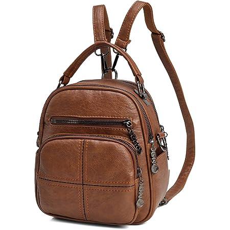 Mini Rucksack Damen, Kasgo Kunstleder Klein Elegant Daypack für Mädchen Frauen Hochschule Tagesrucksack(Braun)