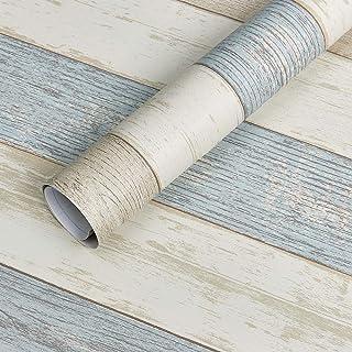 "Homein Beach Wood Self Adhesive Paper 17.5""×78.7"" Peel & Stick Faux Wood Grain Paper Vinyl Film for Furniture Decorative W..."