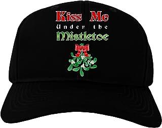 96890c09712 TooLoud Kiss Me Under the Mistletoe Christmas Adult Dark Baseball Cap Hat