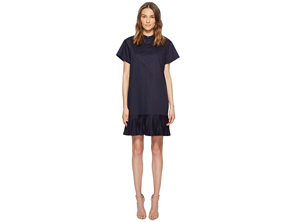 Paul Smith Stretch Cotton Dress w/ Bib Detail (Blue) Women
