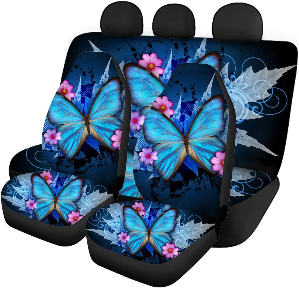 NETILGEN Auto Seat Cover for Cars, Blue Butterfly Printed Car Full Set Seat Covers, Universal Fits Protector Durable Washable Elastic Decor Saddle Blanket Easy Install Sedan SUV