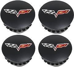 OEM NEW Wheel Hub Center Caps Set of 4 Black w/Flag Logo 12-13 Corvette 9598732