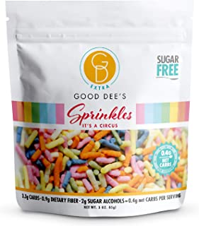 Good Dee's Sugar Free Sprinkles - All Natural Coloring, Low Carb Keto Rainbow Sprinkles (0.4g Net Carbs Per Serving, 1 Pac...