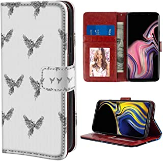 Samsung Galaxy Note 9 Wallet Case, Phoenix Hand Drawn Asian Chinese Phoenix Tattoo Style Simplistic Magic Bird Print Black and White PU Leather Folio Case with Card Holder and ID Coin Slot