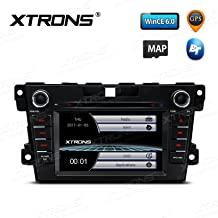 XTRONS 7 Inch HD Digital Touch Screen Car Stereo in-Dash DVD Player GPS Navigation Dual Channel CANbus Screen Mirroring Function for Mazda CX-7 & Map Card Included