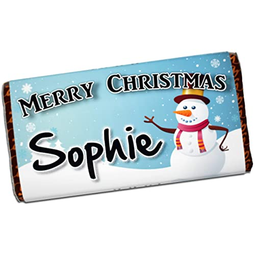 Personalised Merry Christmas Snowman 114g Galaxy Milk Chocolate Bar ~ Xmas Eve Kids Girls Boys Mum