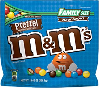 M&M'S Pretzel Chocolate Candy Family Size 15.4-Ounce Bag (Pack of 8)