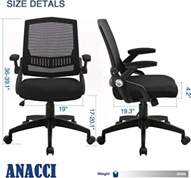 ANACCI Office Chair, Mid-Back Desk Chair with Ergonomic Back Support, Mesh Computer Chair with Thick Cushion and Flip-up Armr