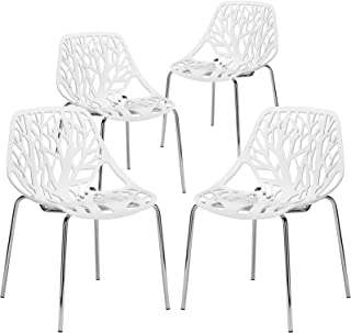 Poly and Bark Modern Mid-Century Birds Nest Dining Side Chair in White with Chrome Legs (Set of 4)