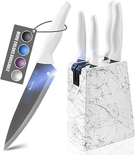 Wanbasion Inox Set de Couteaux de Cuisine Professionnel, Couteaux de Cuisine en Bois Acier Inoxydable, Bloc pour Couteaux ...