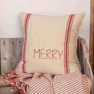 Piper Classics Merry Printed Grain Sack Pillow Cover, 18