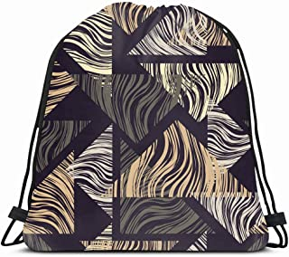 Ahawoso Gym Drawstring Bags Backpack String Bag 14X16 Tile Abstraction Geometric Tangram Pattern Scribble Abstract Scratches Blouse Canvas Carpet Doodle Sport Sackpack Hiking Yoga Travel Beach