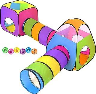 NUBUNI 4 en 1 Tienda Campaña Infantil : 2 Casitas Tela + 2 Tunel de Juego para niños : Plegable Parque Bebe Bolas Infantil Jardín Exterior Interior Juguetes Niño Niñas Bebes Casitas Tela Tipi
