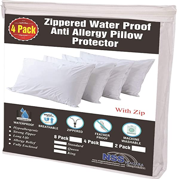 4 Pack Waterproof Pillow Protectors Standard 20x26 Inches Life Time Replacement Smooth Zipper Premium Encasement Covers Quiet Cases Set White 100 Liquid Guard