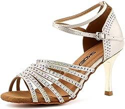 SKOEX Women's Dance Shoes Ballroom Performance Latin Salsa Dancer Shoe with 3
