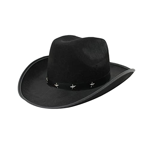 4608ce1f870d9f ILOVEFANCYDRESS® COWBOY HAT STAR STUDDED FANCY DRESS ACCESSORY IN BLACK,  BROWN OR WHITE TRAMPAS
