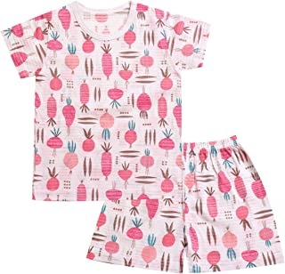 OllCHAENGi Toddler Kids Boys Girls Cotton Pajama Set Short Sleeve 2T-13Y Carrot