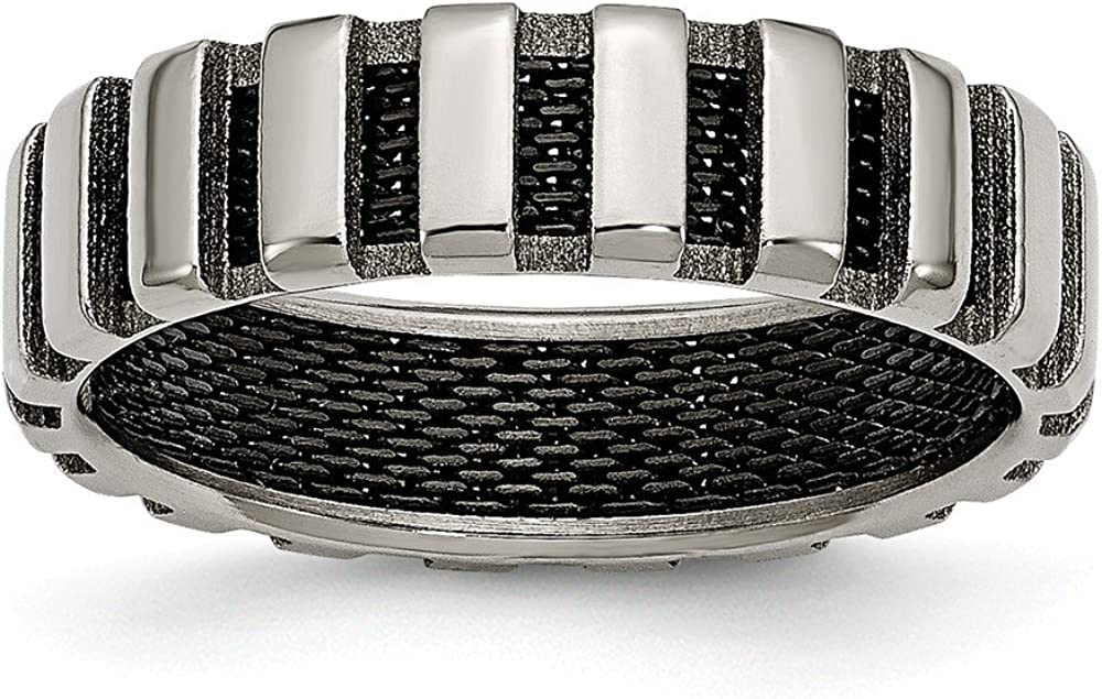 ICE CARATS Titanium Black Plated Wire 6mm Wedding Ring Band Fancy Fashion Jewelry for Women Gifts for Her
