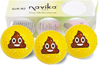 Navika Golf Balls - Poop Emoji Imprint on Bright Yellow High Visibility Color (3-Pack)