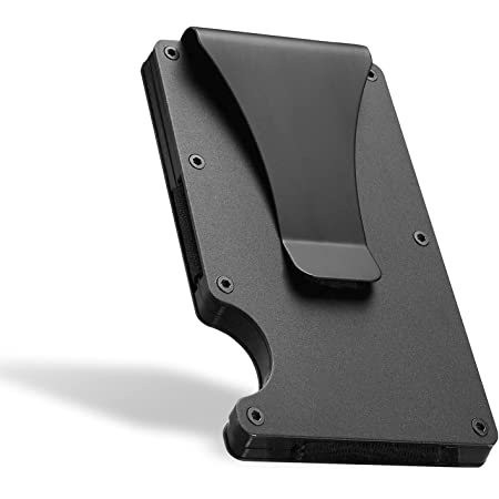 Fancigo Minimalist Credit Card Holder Wallet with NFC RFID Blocking Aluminum Men's Money Clip Wallet- Black