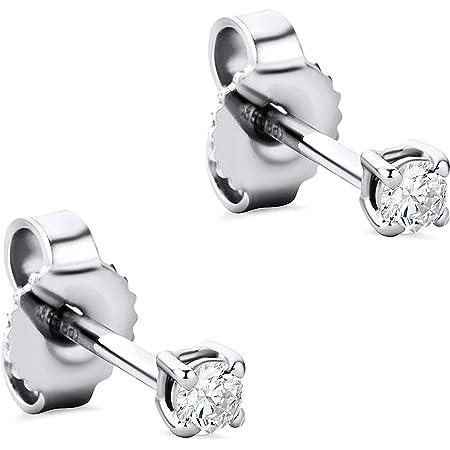 Orovi Pendientes para mujer con diamantes de oro blanco de 14 quilates (585) y diamantes brillantes de 0,12 quilates, hechos a mano en Italia