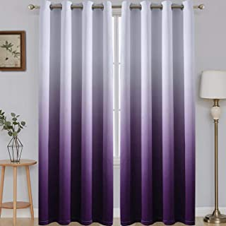 SimpleHome 96 Inch Long Ombre Curtains Blackout White and Purple Room Darkening Curtain Thermal Insulated Grommet Window Drapes for Living Room/Bedroom, Purple,52x96 inches