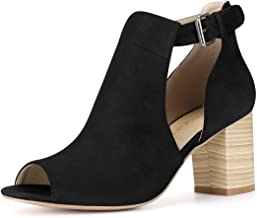 Best solid suede peep toe chunky heeled boots Reviews