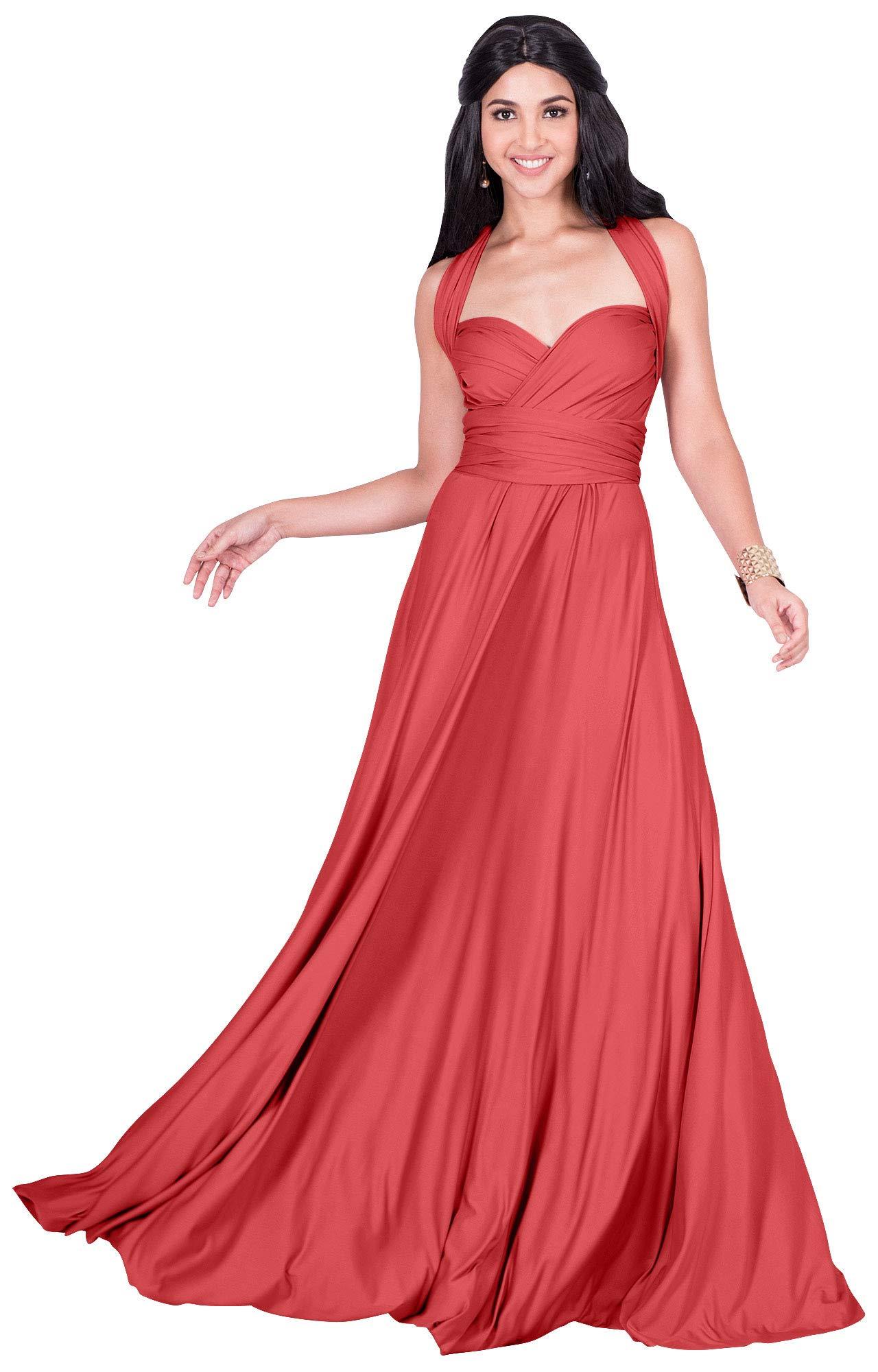 Available at Amazon: KOH KOH Women's Long Bridesmaid One Shoulder Convertible Wrap Cocktail Maxi Dress
