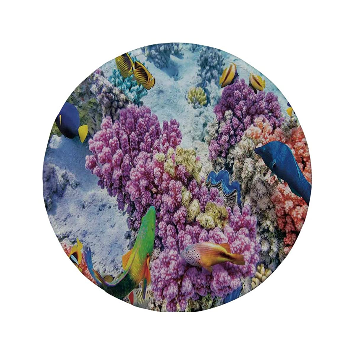 Non-Slip Rubber Round Mouse Pad,Ocean Decor,Surreal View of Marine Life with Submerged Colony of Pillar Corals Aquatic Fauna,Multi,7.87